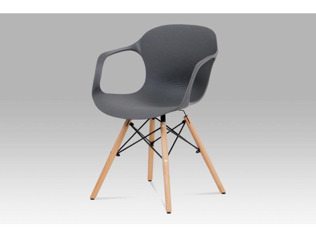 Jídelní židle, šedý strukturovaný plast / natural ALBINA GREY