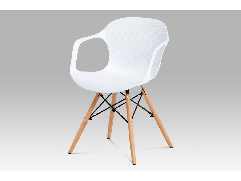 Jídelní židle bílý strukturovaný plast / natural ALBINA WT