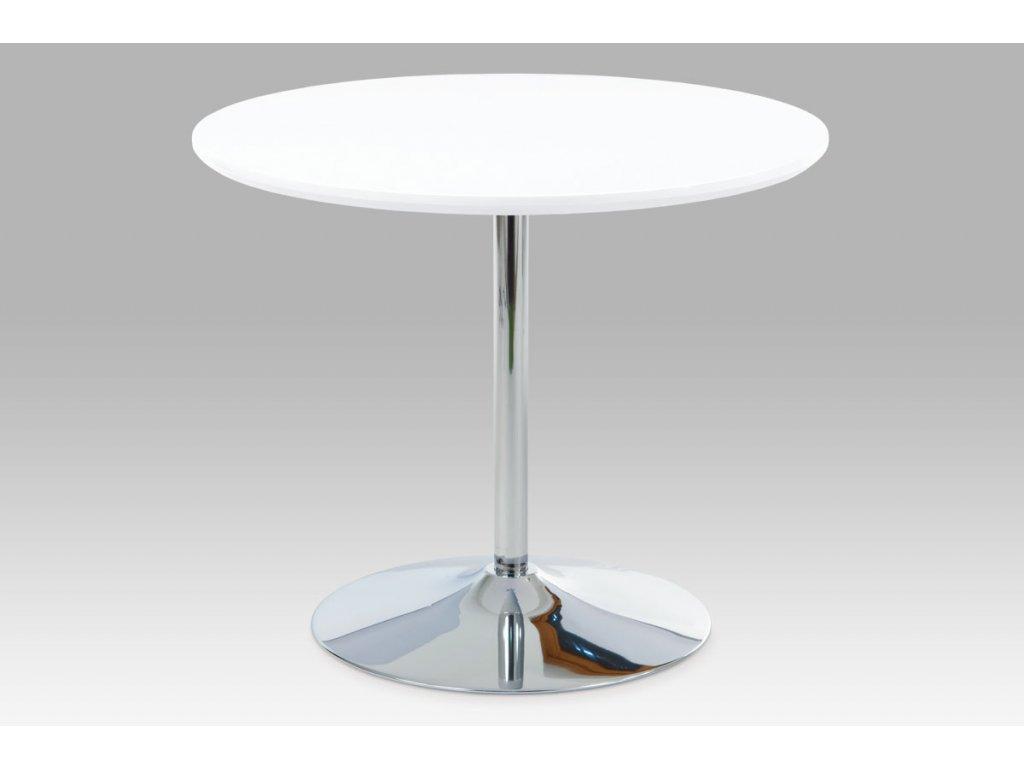 Jídelní stůl pr. 90 cm, vys. lesk bílý / chrom AT-1901 WT