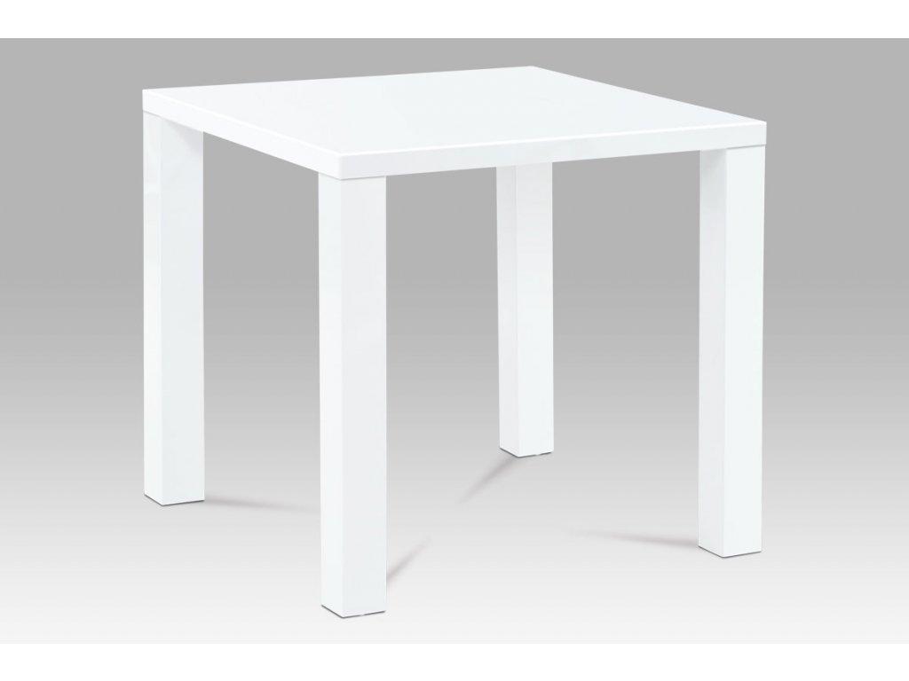 Jídelní stůl 80x80x76 cm, vysoký lesk bílý AT-3005 WT