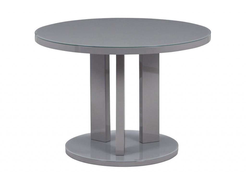 Jídelní stůl pr. 108 cm, sklo šedé + MDF šedá AT-4003 GREY