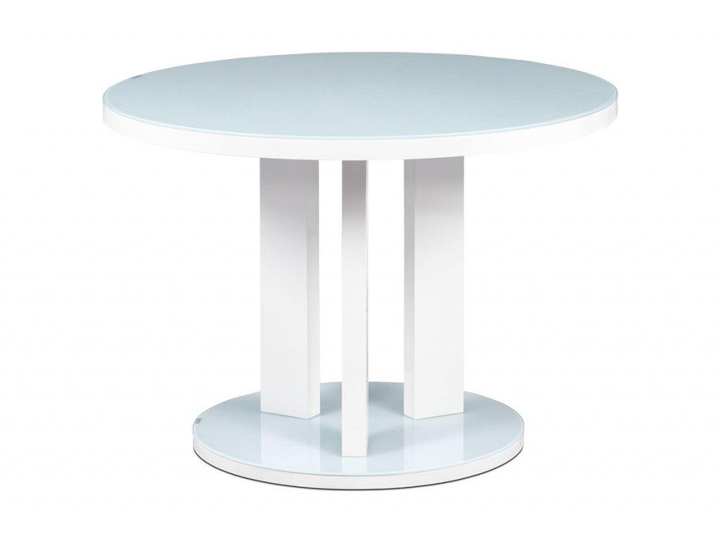 Jídelní stůl pr. 108 cm, sklo bílá + MDF bílá AT-4004 WT