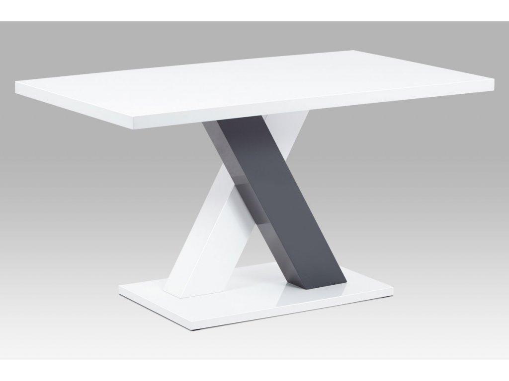 Jídelní stůl 140x80, bílá MDF vysoký lesk AT-4005 WT