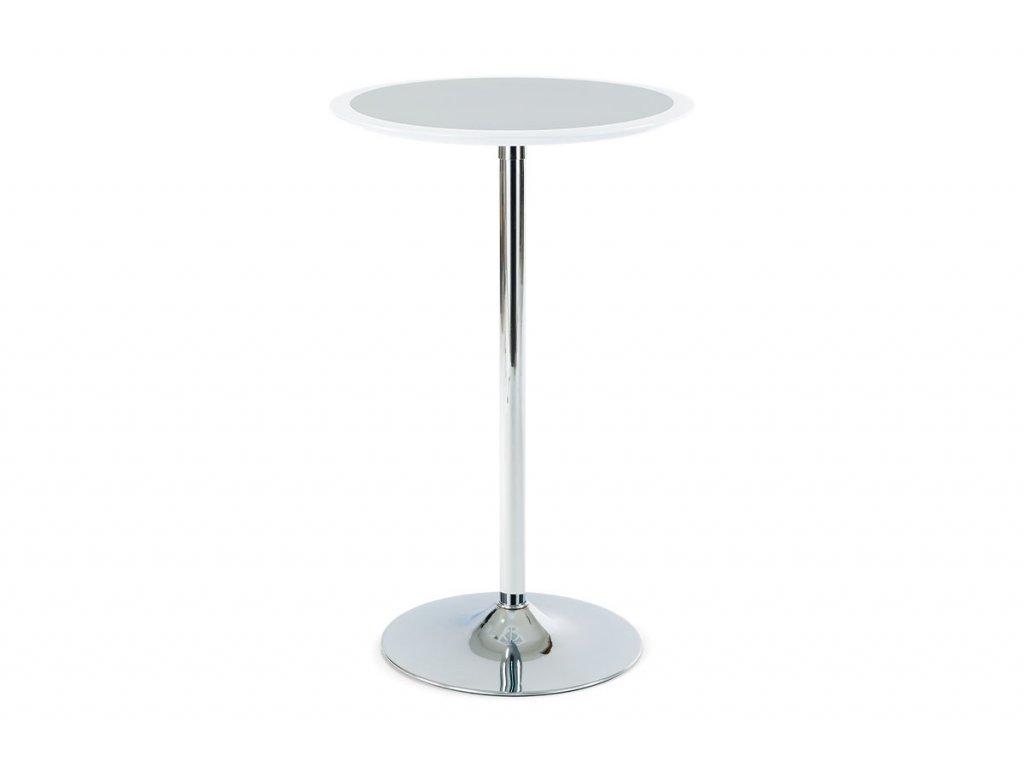 Barový stůl bílo-stříbrný plast, pr. 60 cm AUB-6050 WT