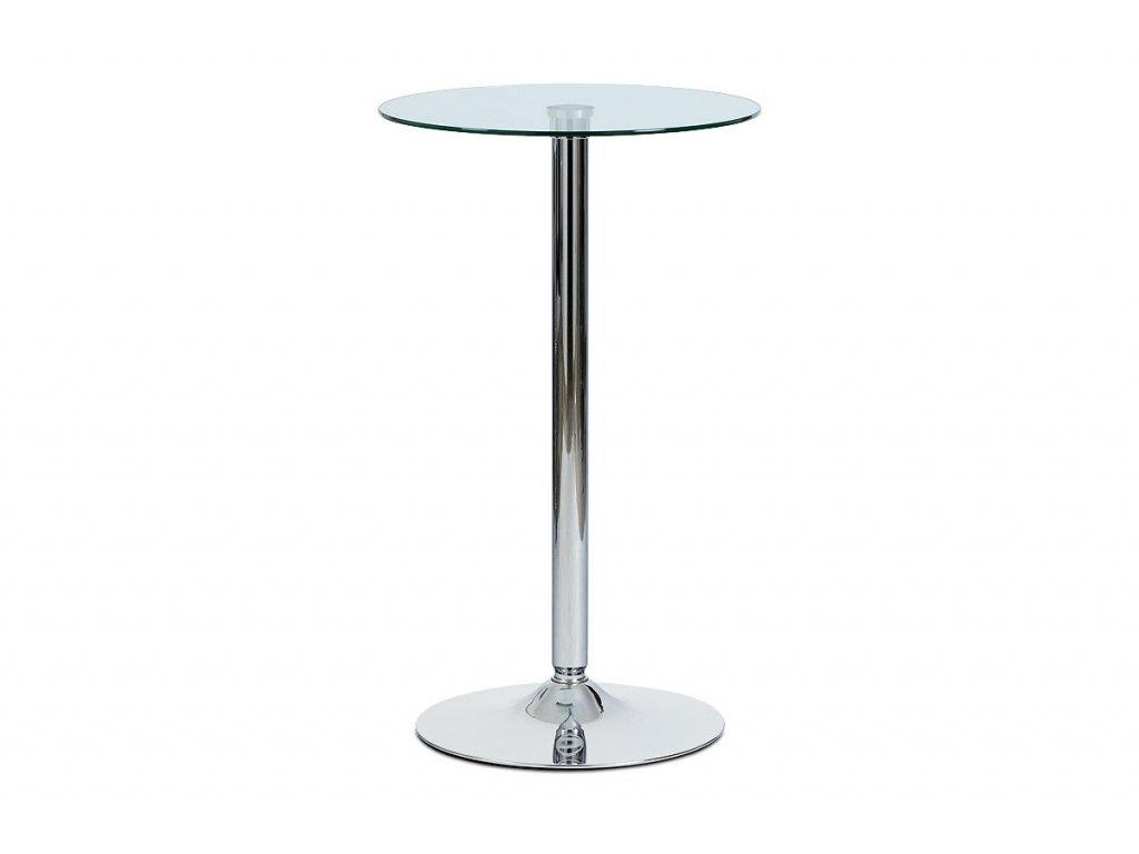 Barový stůl čiré sklo / chrom, pr. 60 cm AUB-6070 CLR