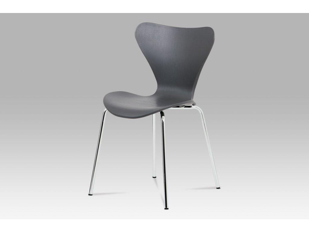Jídelní židle, šedý plast s imitací dřeva / chrom AURORA GREY