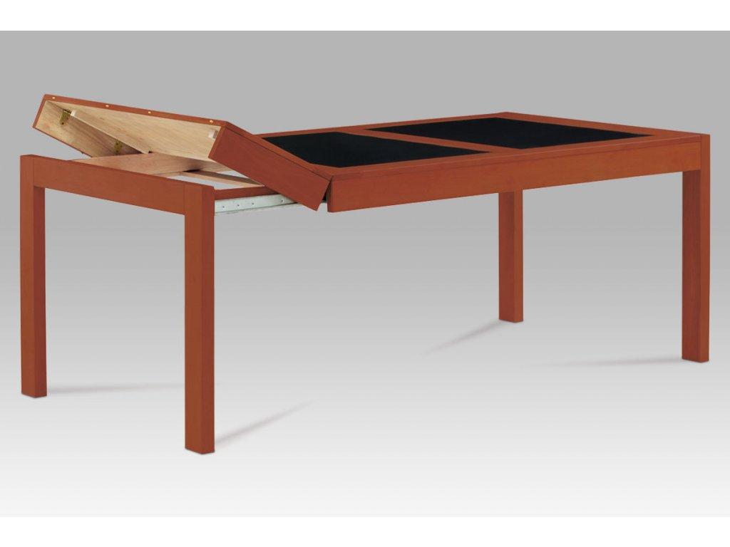 Jídelní stůl rozkl. 160+40+40x90 cm, barva třešeň / černé sklo AUT-594 TR2