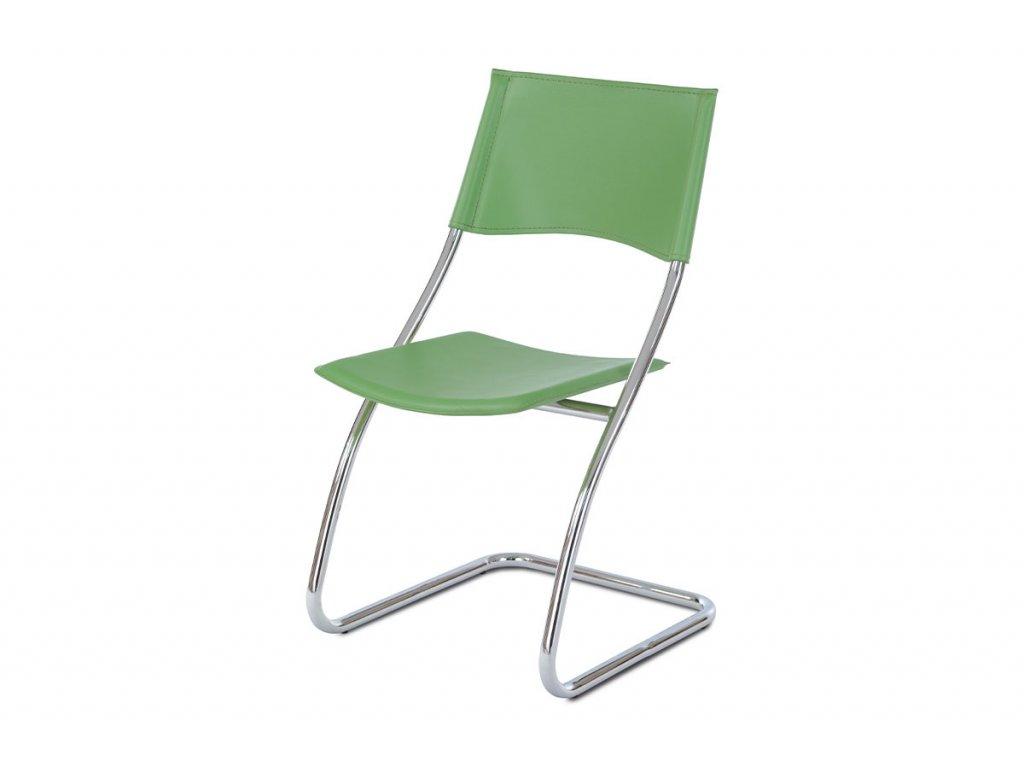 Židle chrom / zelená koženka B161 GRN