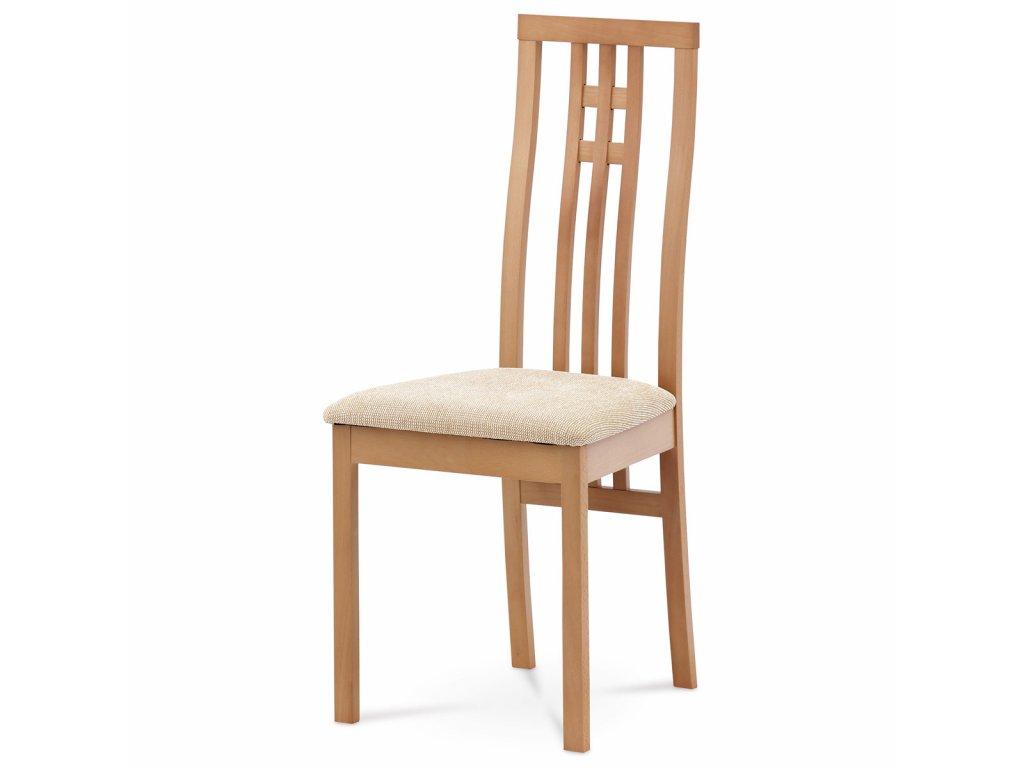 Jídelní židle masiv buk, barva buk, potah krémový BC-2482 BUK3