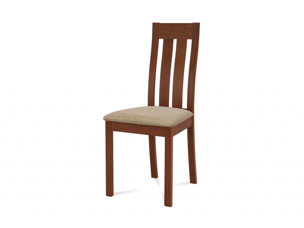 Jídelní židle masiv buk, barva třešeň, potah béžový BC-2602 TR3