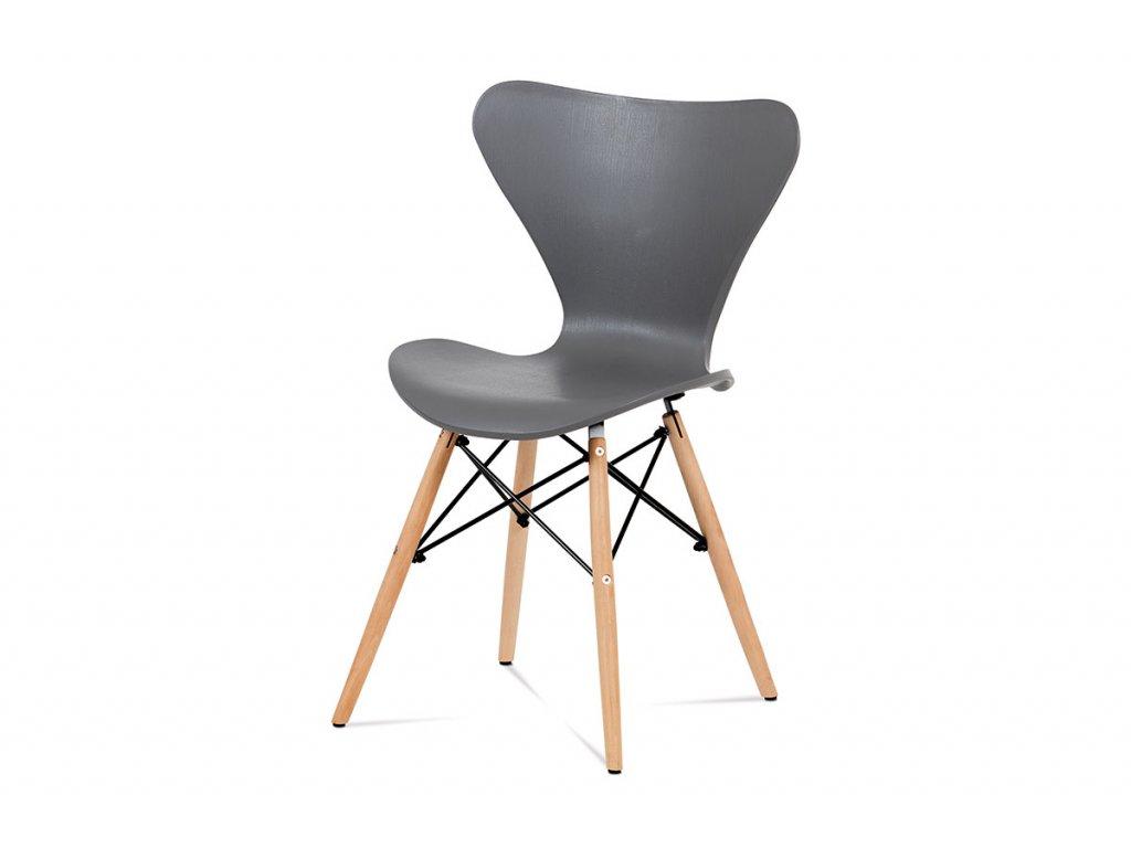 Jídelní židle šedý plast / natural CT-742 GREY