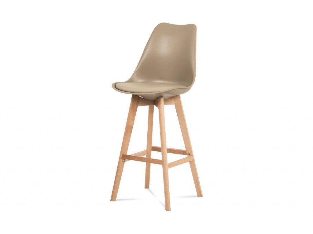 Jídelní židle, cappuccino plast+ekokůže, nohy masiv buk CTB-801 CAP