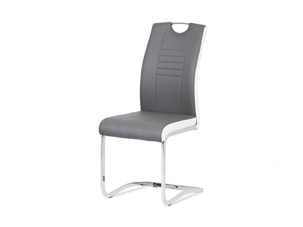 Jídelní židle chrom / koženka šedá s bílými boky DCL-406 GREY