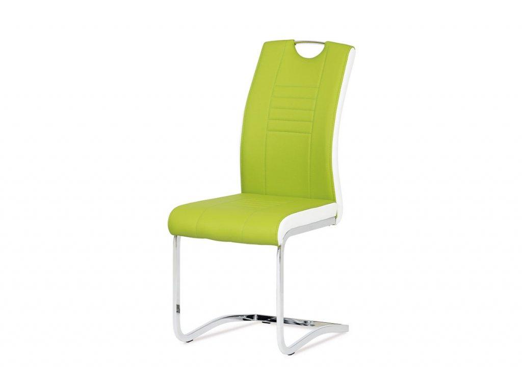 Jídelní židle chrom / koženka limetková s bílými boky DCL-406 LIM