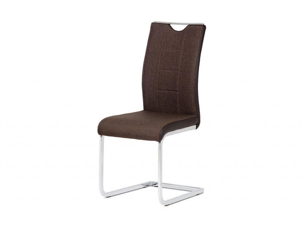 Jídelní židle chrom / hnědá látka + hnědá koženka DCL-410 BR2