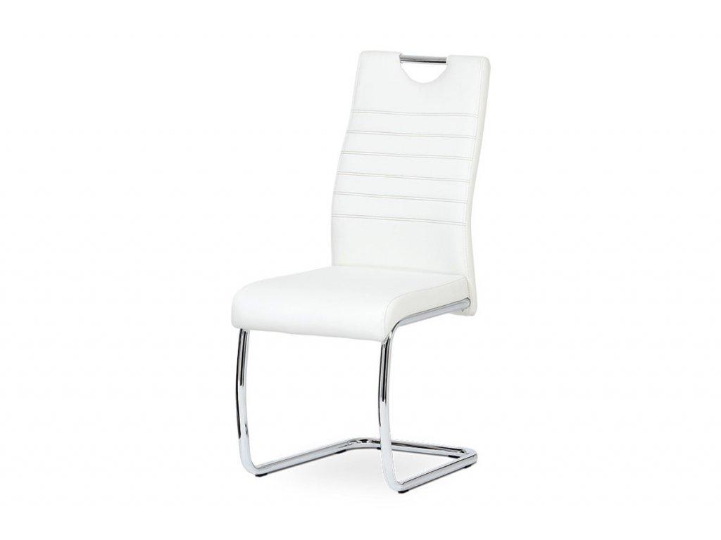 Jídelní židle koženka bílá / chrom DCL-418 WT