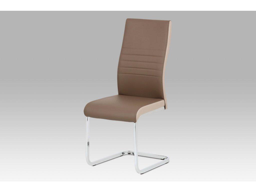 Jídelní židle coffee + cappuccino koženka / chrom DCL-429 COF