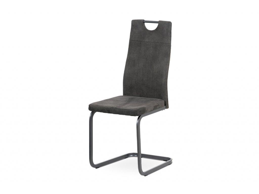 Jídelní židle, šedá látka, šedý kov mat DCL-462 GREY3