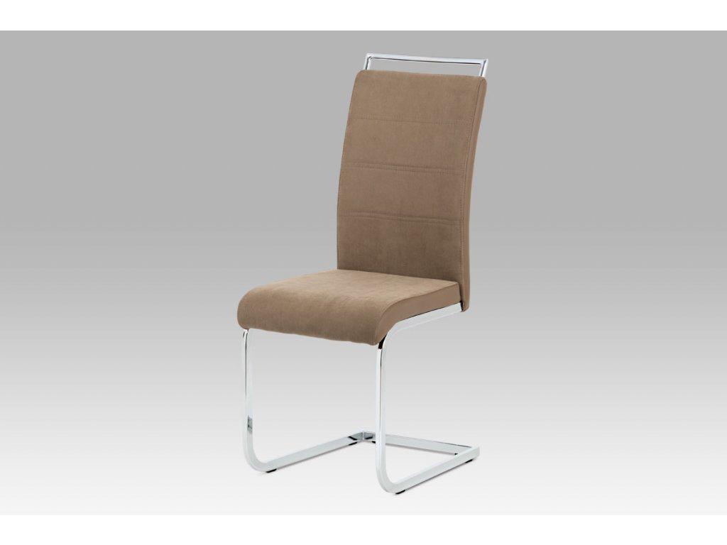Jídelní židle lnýžová látka + hnědá koženka / chrom DCL-966 LAN2
