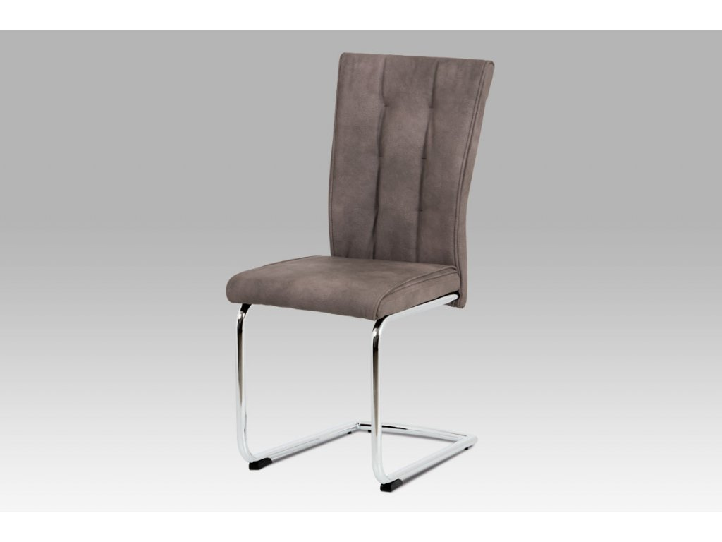 Jídelní židle koženka hnědá / chrom DCH-192 BR