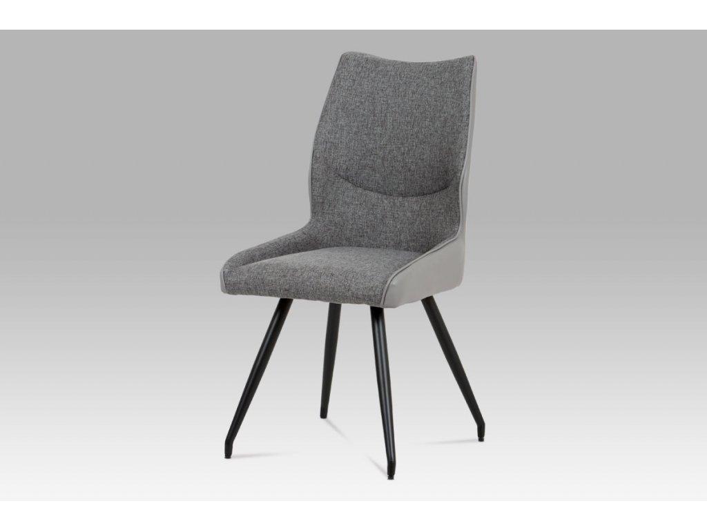 Jídelní židle koženka šedá + látka / černá kov DCH-351 GREY2