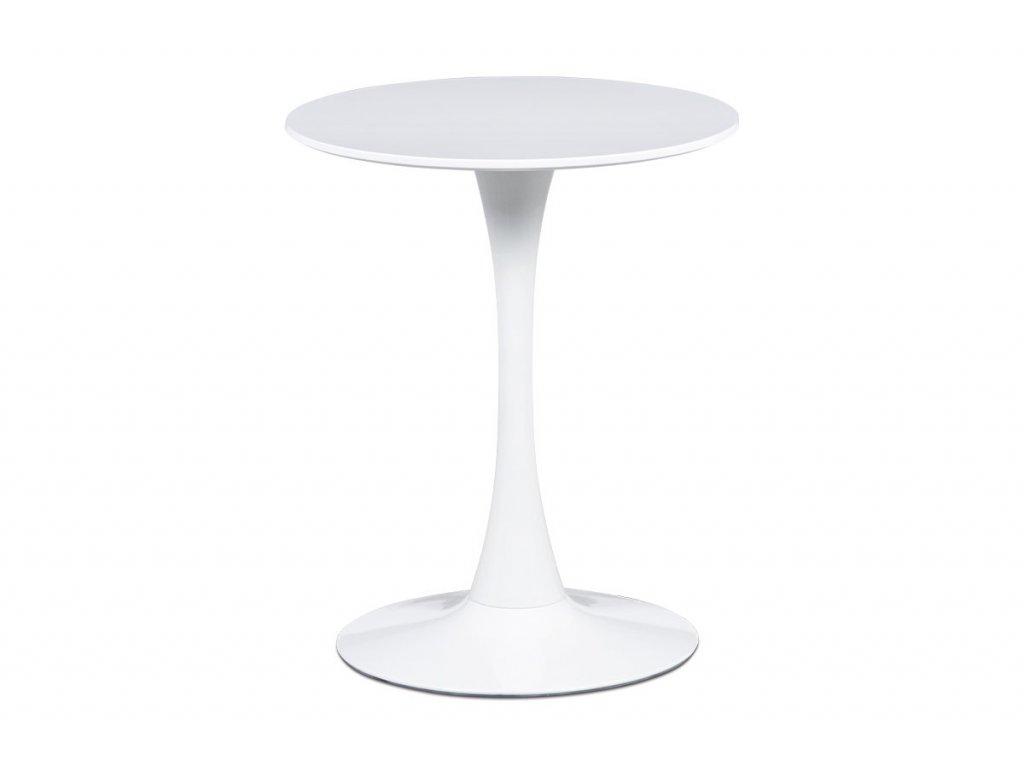 Jídelní stůl pr.60x72 cm, bílá matná MDF, kov bílý vysoký lesk DT-560 WT