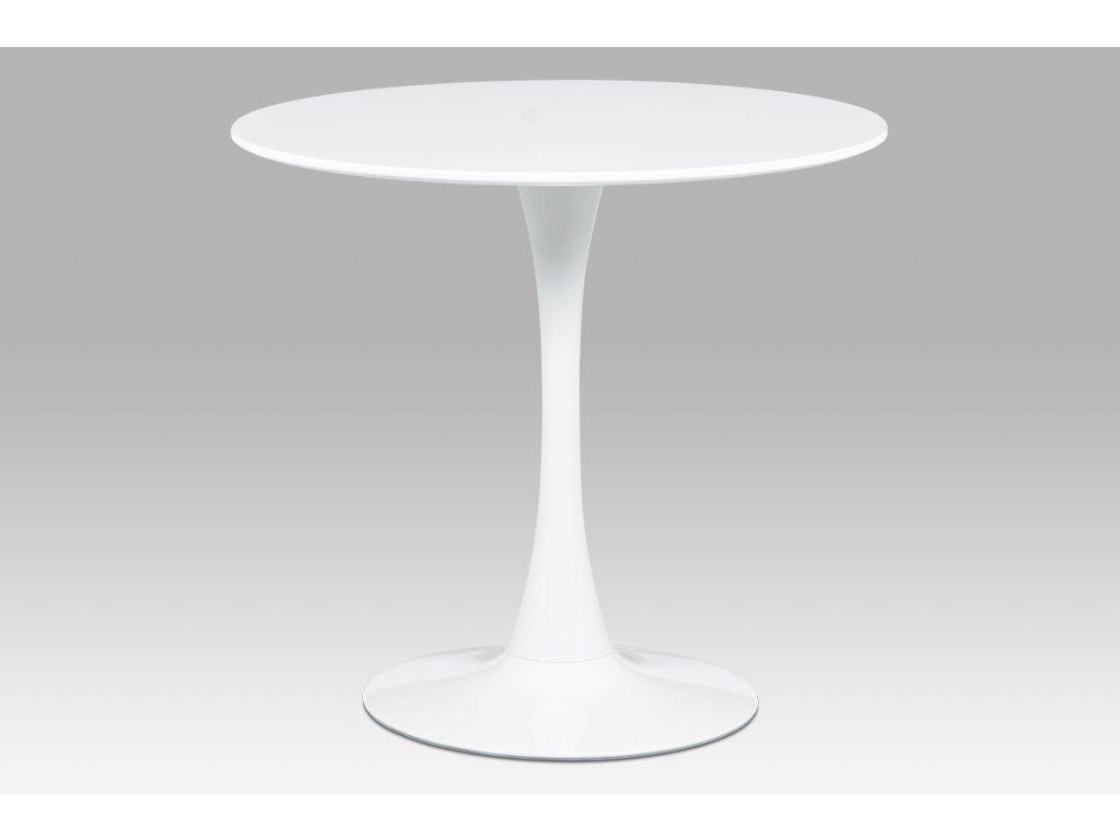 Jídelní stůl pr.80x73 cm, bílá matná MDF, kov bílý vysoký lesk DT-580 WT