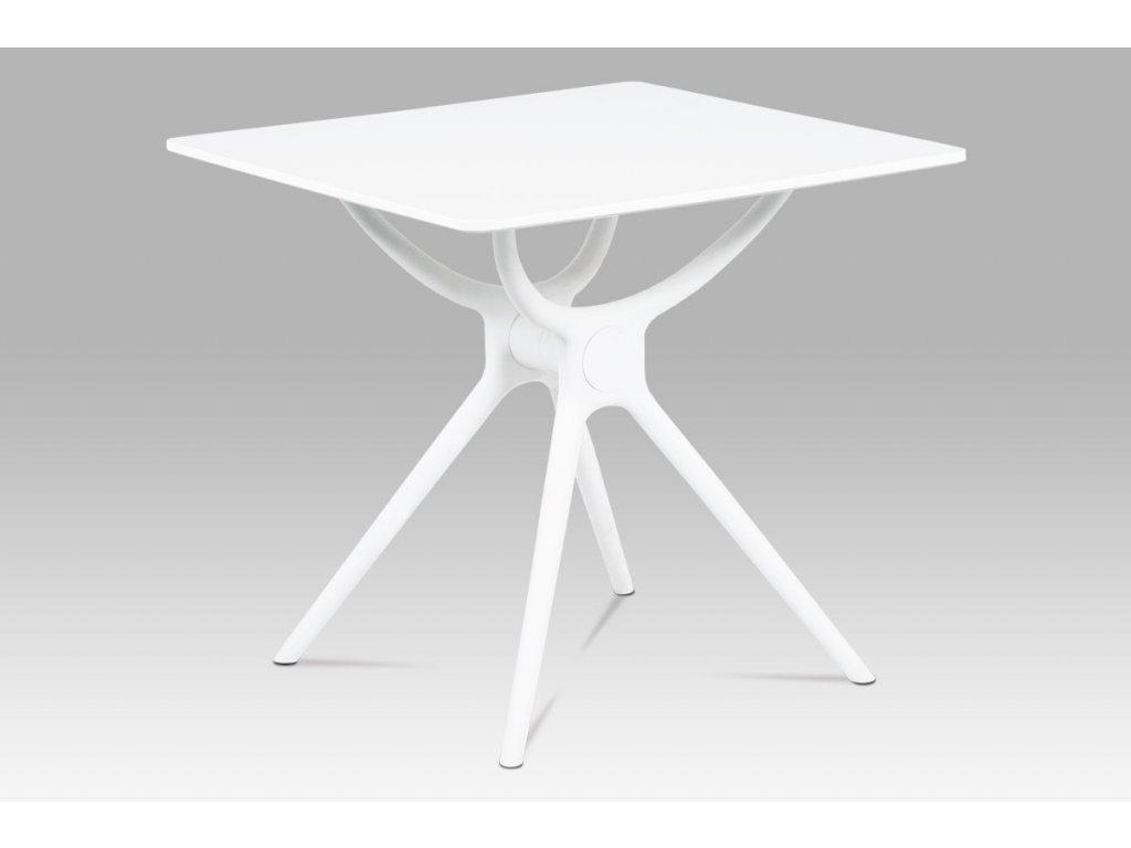 Jídelní stůl 80x80, bílá MDF, plast bílý DT-751 WT