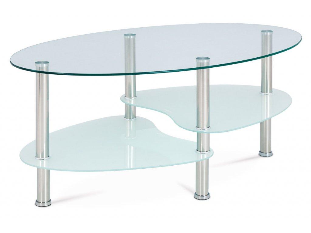 Konferenční stolek, čiré sklo / mléčné sklo / leštěný nerez GCT-301 MIL1