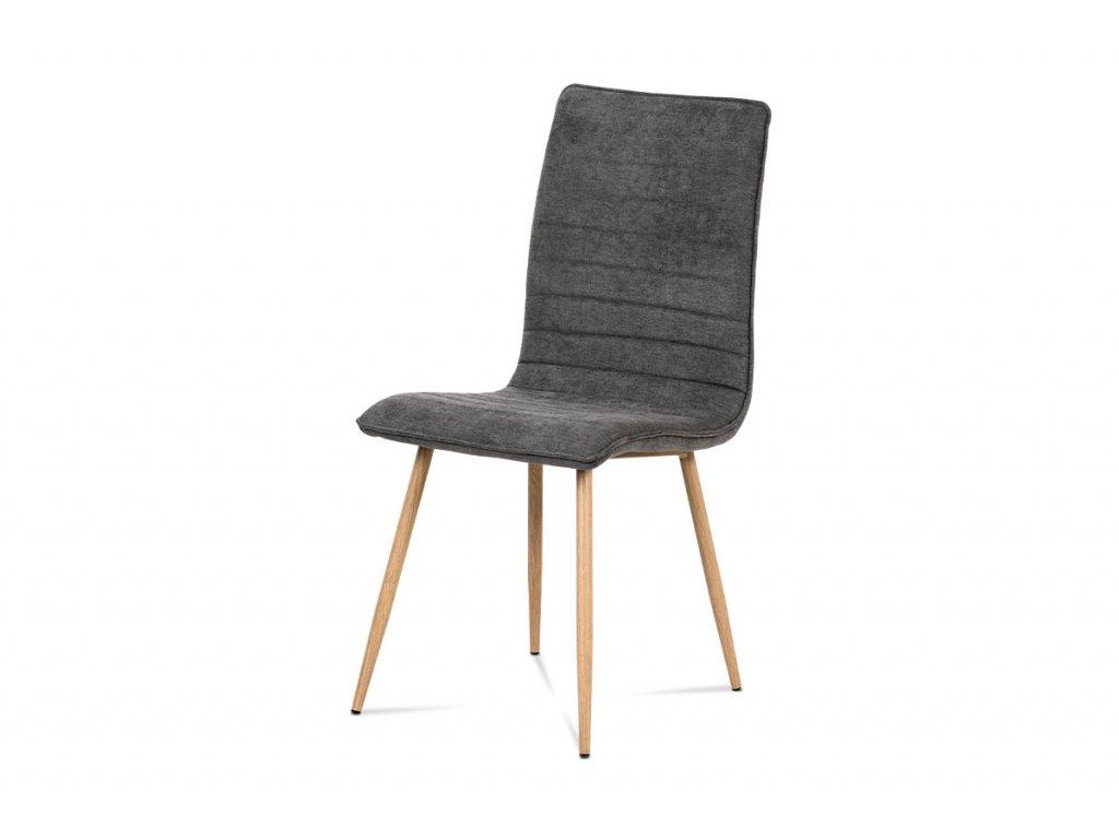 Jídelní židle, šedá látka, kov 3D lak dub HC-368 GREY2