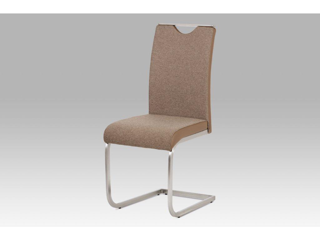 Jídelní židle látka cappuccino + koženka cappuccino / broušený nerez HC-921 CAP2