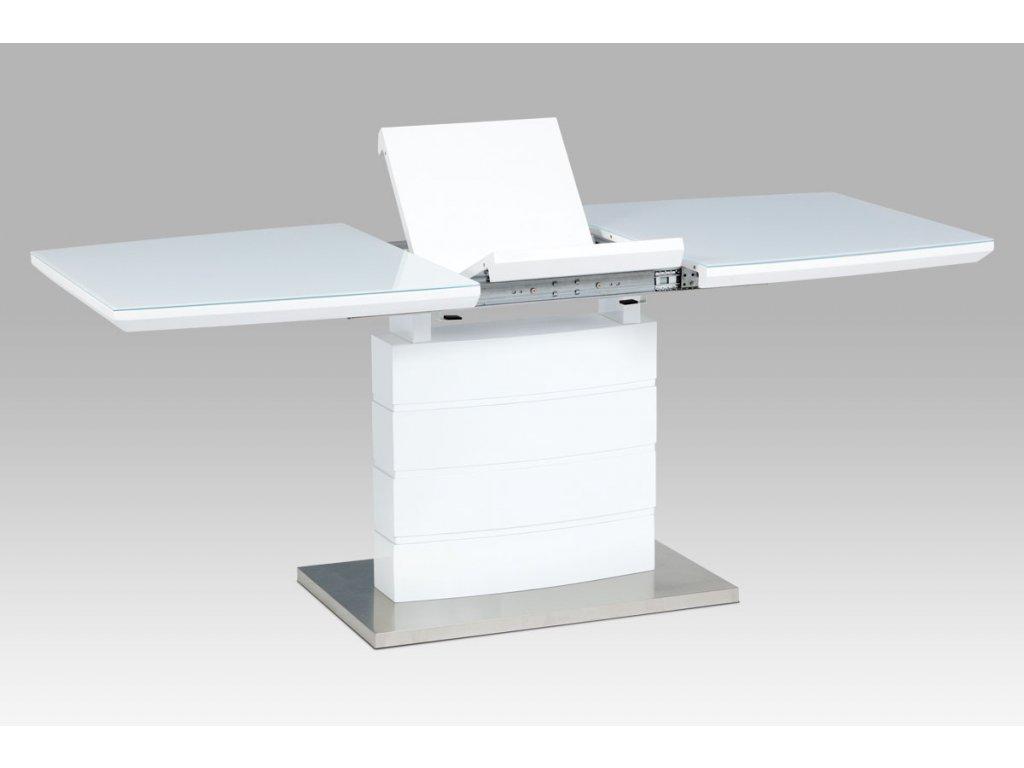 Rozkládací jídelní stůl 140+40x80x76 cm, bílý lesk, bílé sklo / broušený nerez HT-440 WT
