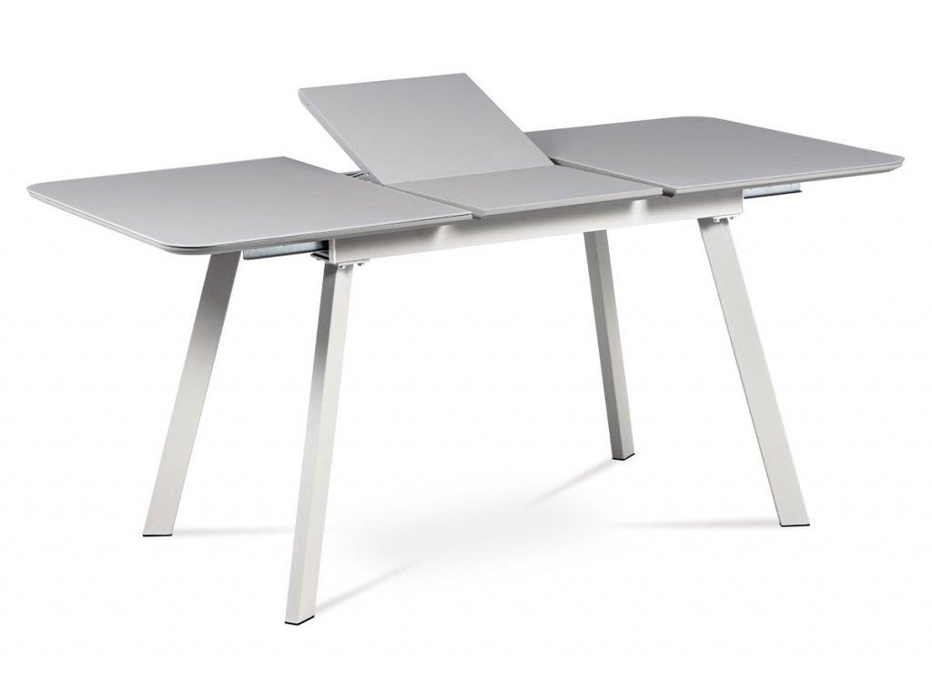 Jídelní stůl 120+40x80 cm, šedá matná MDF+šedé sklo, kov šedý mat HT-801 GREY
