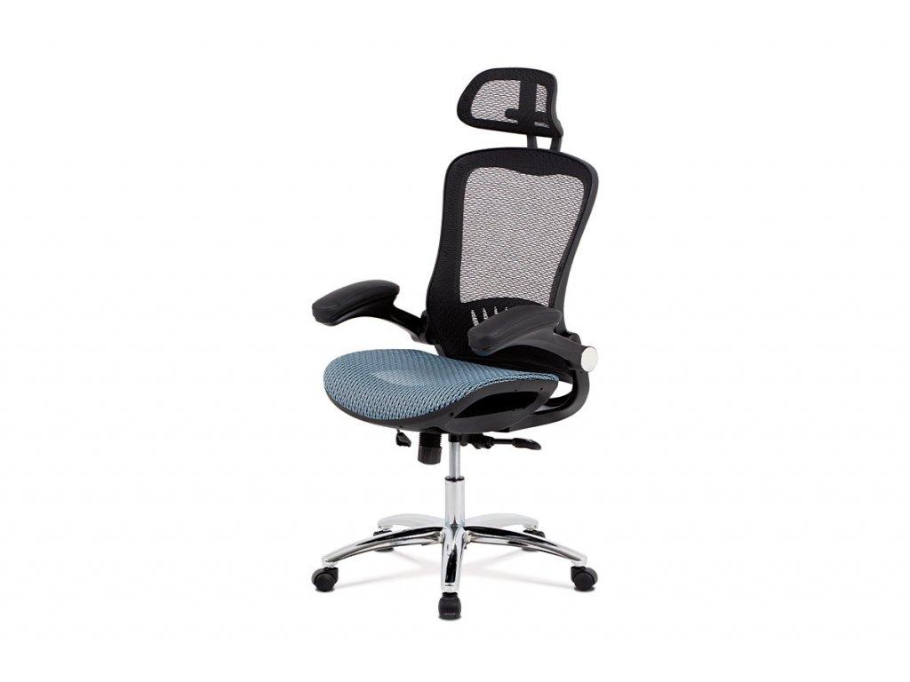 Kancelářská židle, synchronní mech., modrá MESH, kovový kříž KA-A185 BLUE