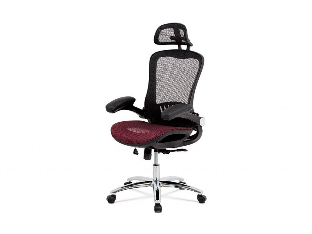 Kancelářská židle, synchronní mech., červená MESH, kovový kříž KA-A185 RED