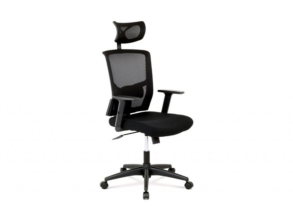 Kancelářská židle s podhlavníkem, látka mesh černá, houpací mechanismus KA-B1013 BK