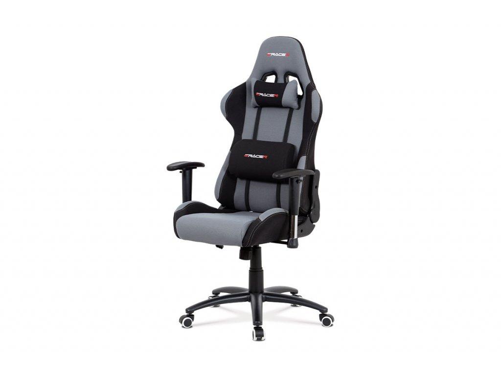 Kancelářská židle houpací mech., šedá látka, kovový kříž KA-F01 GREY
