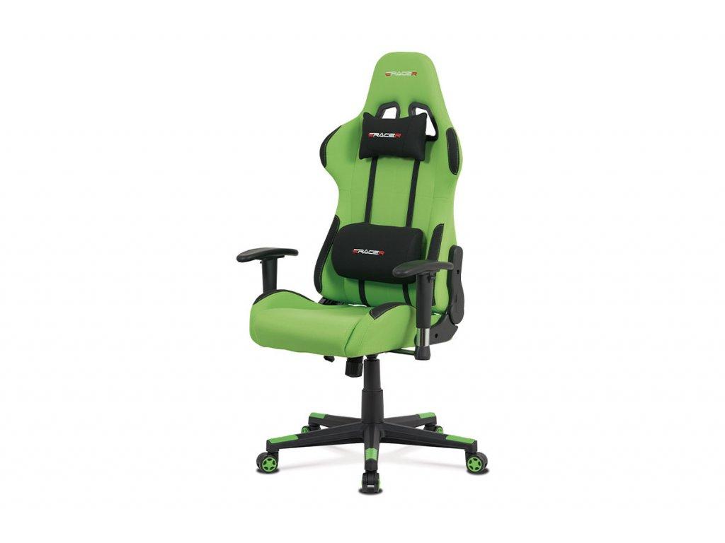 Kancelářská židle, zelená látka, houpací mech., plastový kříž KA-F05 GRN