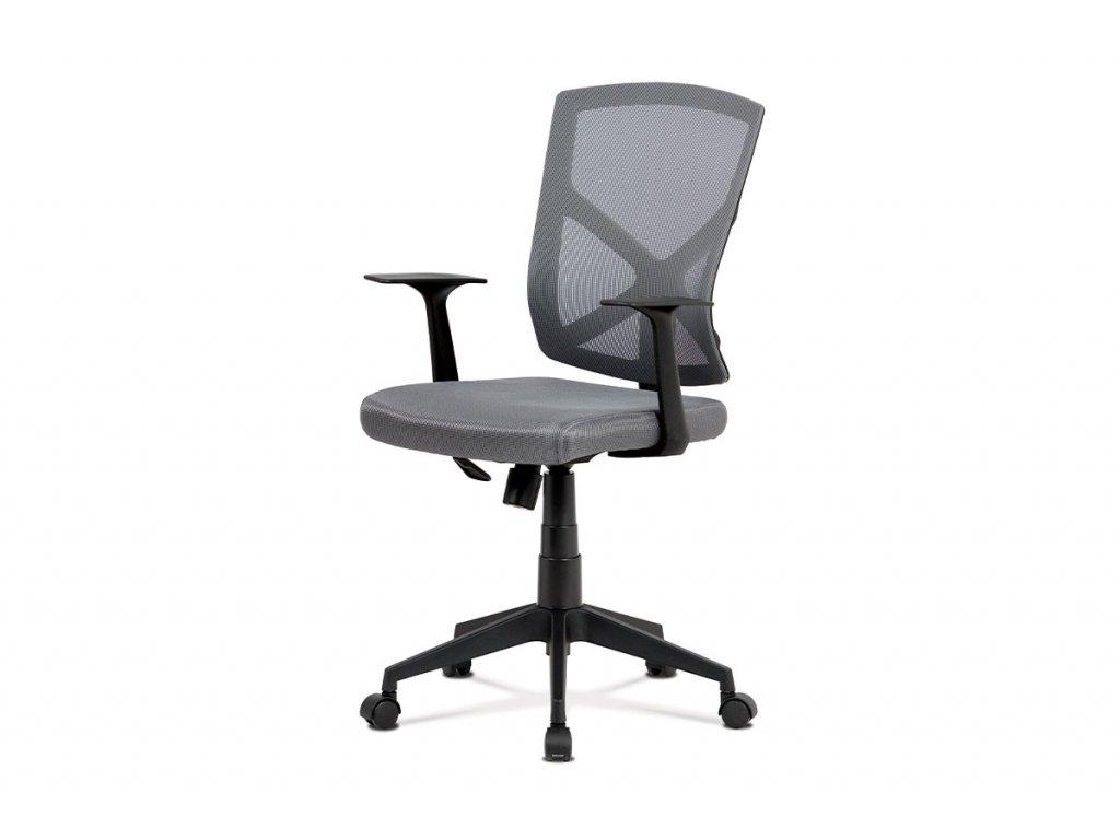 Kancelářská židle, šedá MESH+síťovina, plastový kříž, houpací mechanismus KA-H102 GREY