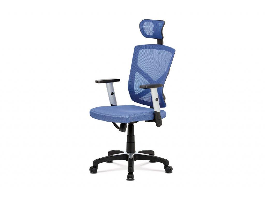 Kancelářská židle, modrá MESH+síťovina, plastový kříž, houpací mechanismus KA-H104 BLUE