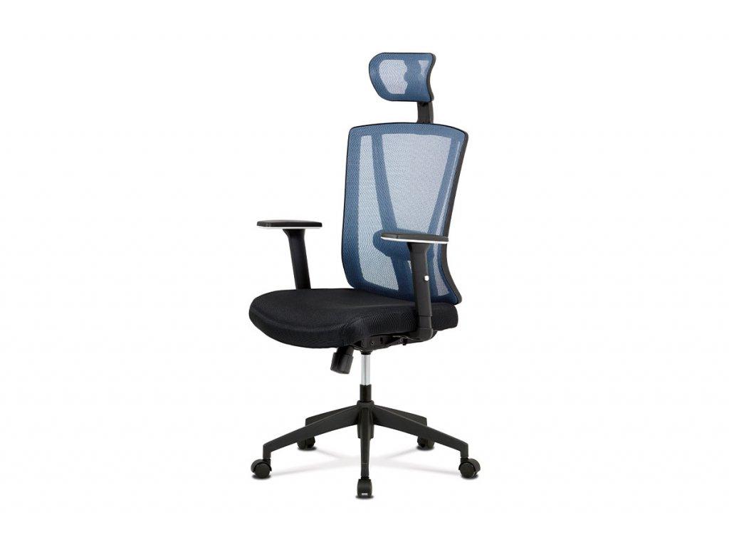 Kancelářská židle, černá MESH+modrá síťovina, plastový kříž, synchronní mechanismus KA-H110 BLUE