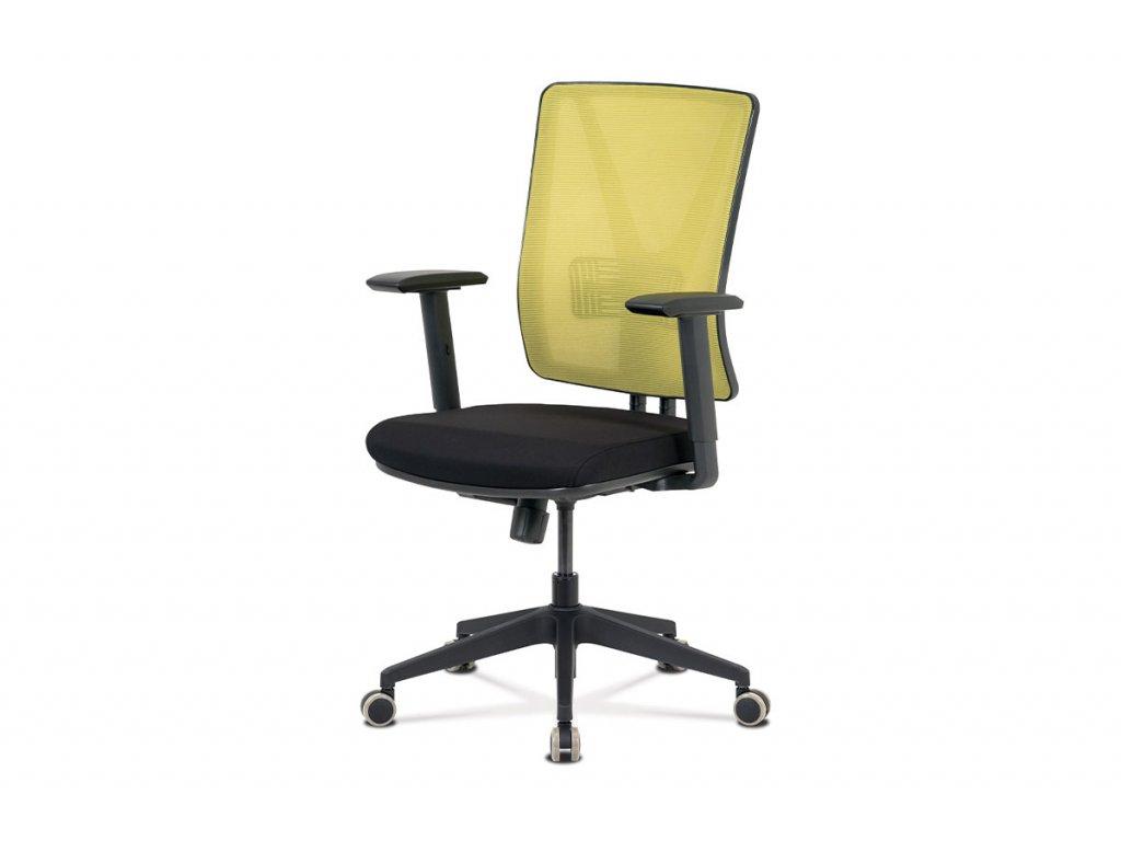 Kancelářská židle, zelená síťovina+černá látka, synchronní mech, plast kříž KA-M01 GRN