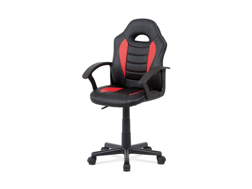 Kancelářská židle, červená-černá ekokůže, výšk. nast., kříž plast černý KA-V107 RED