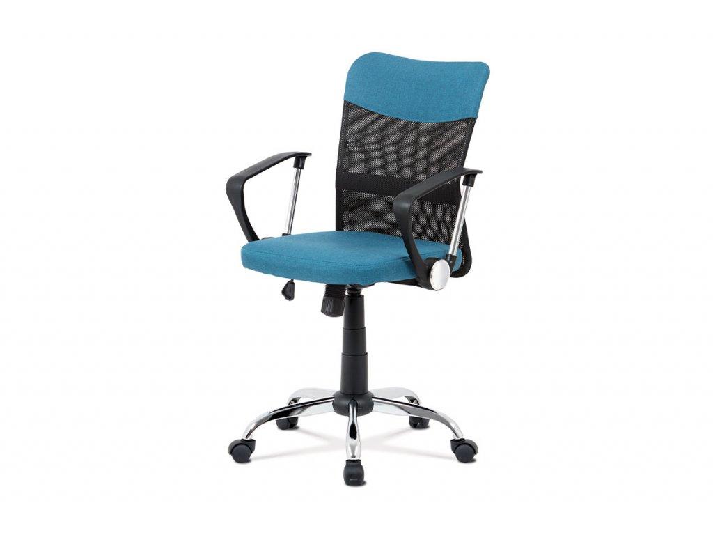 Kancelářská židle, modrá látka, černá MESH, houpací mech, kříž chrom KA-V202 BLUE
