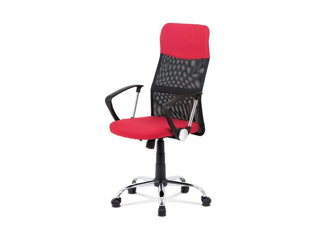 Kancelářská židle, červená látka, černá MESH, houpací mech, kříž kovový KA-V204 RED