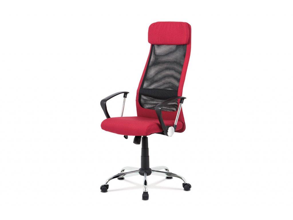 Kancelářská židle, bordó látka, černá MESH, houpací mech, kříž chrom KA-V206 BOR