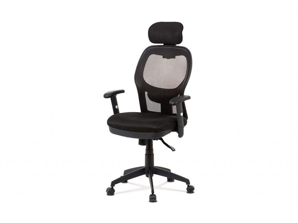 Kancelářská židle, černá MESH, synchronní mech, kříž plastový černý KA-V301 BK
