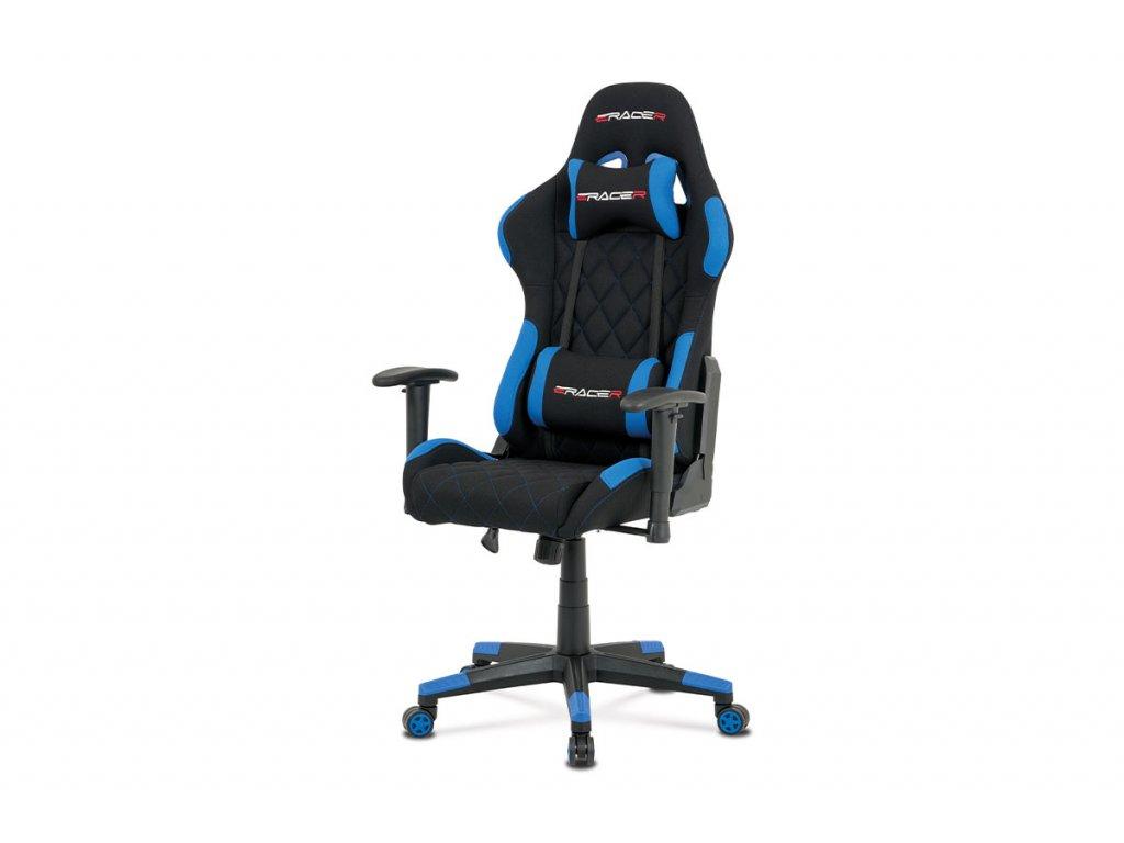Kancelářská židle, modrá látka, houpací mech, kříž plast KA-V606 BLUE