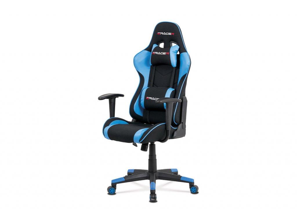 Kancelářská židle, modrá ekokůže + černá látka, houpací mech., plastový kříž KA-V608 BLUE
