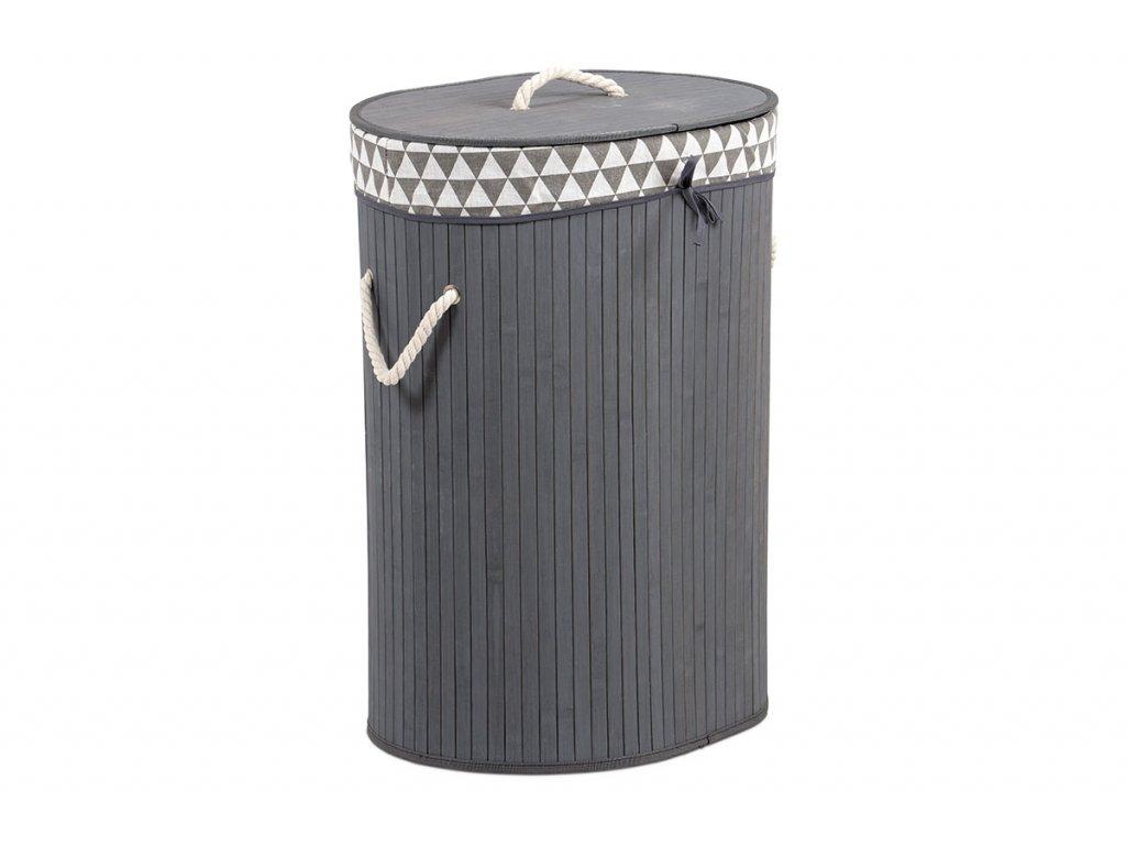 Koš prádelní z bambusu, ovál, barva šedá, v papírové krabičce KD4427
